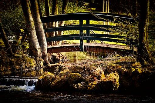 Bridge, Romantic, Idyllic, Bach, Water, Nature