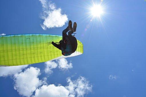 Paragliding, Paraglider, Free Flight, Blue Sky, Sun