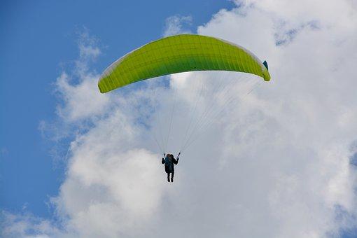 Paragliding, Paraglider, Veil Yellow Green, Hobbies