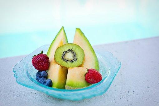Fruit, Bowl, Poolside, Cantaloupe, Melon, Kiwi