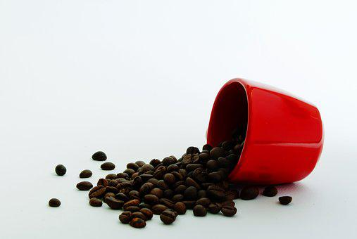 Coffee, Coffee Beans, Red, Drink, Cup, Food