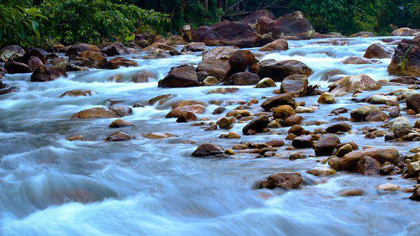 Water, Rocks, Flows, Slow Shutter, Long Exposure, Rock