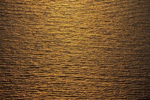 Sea, Gold, Texture, Twilight, Summer, Fantasy
