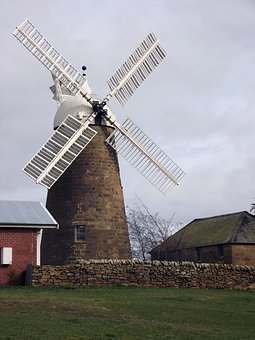 Windmill, Clouds, Barn, Farm, Architecture, Wind, Sky
