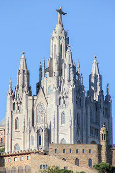 Barcelona, Tibidabo, Spain, Architecture, City, Church