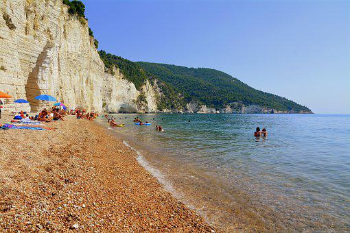 Beach, Bathers, Sea, Sand, Rock, Umbrellas, Costa