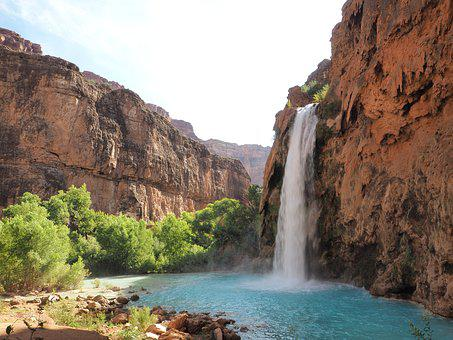 Waterfall, Canyon, Outdoors, Nature, Blue, Sky, Trees