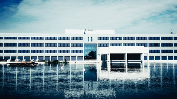 Office Building, Architecture, Building, Water