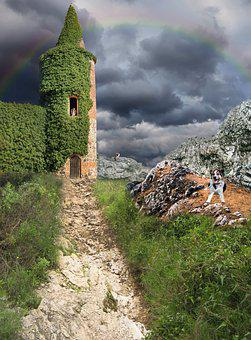 Tower, Away, Dog, Cat, Mountains, Sky, Fantasy, Nature