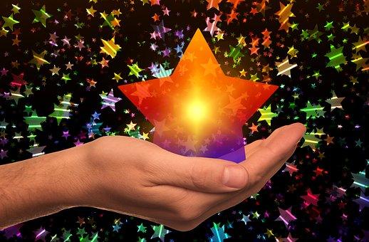 Christmas, Star, Gloss, Lights, Light, Hand