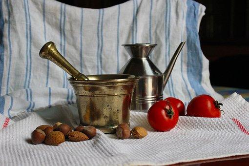 Still Life, Mortar, Dried Fruit, Cruet, Tomatoes, Foods