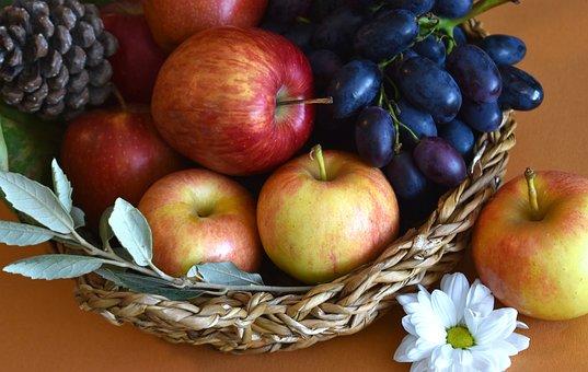 Fruits, Fruit Basket, Basket, Food, Apples, Grapes