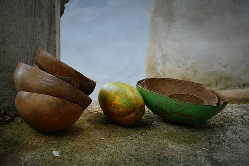 Fruit, Green, Indian, Plates, Old, Nature
