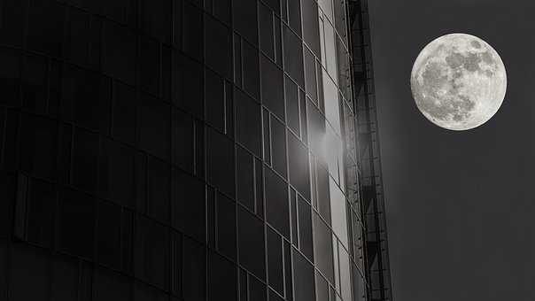 Moon, Skyscraper, Reflection, Glass Facade, Light