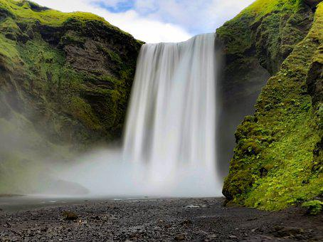 Waterfall, Iceland, Water, Landscape, Nature, The Stage