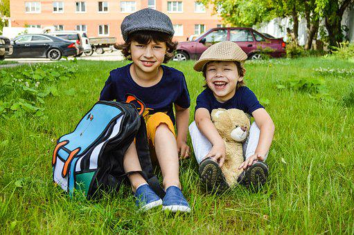 Kids, Backpack, Boys, Bear, Lawn, Baby, Laughter