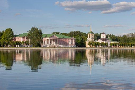 Moscow, Kuskovo, Homestead, Lake, Park, Russia, Sky