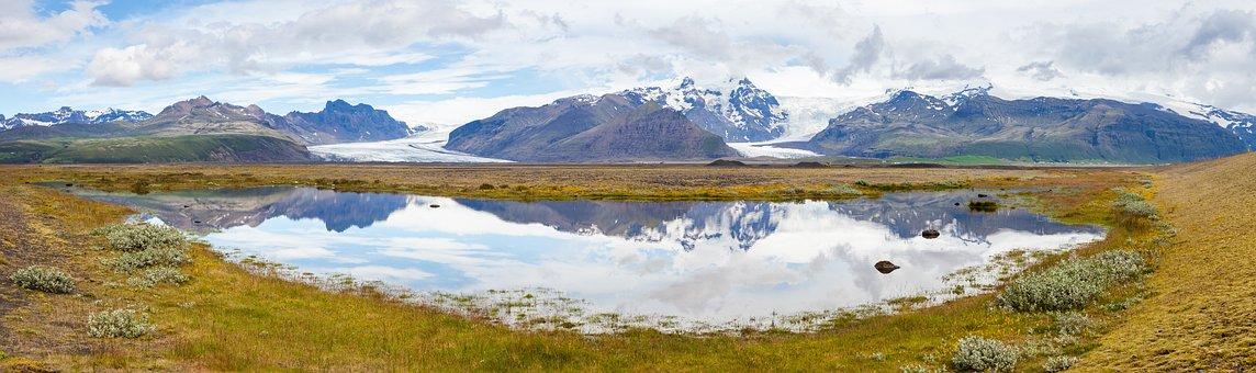 Panorama, Iceland, Landscape, Sky, Nature, Mountains
