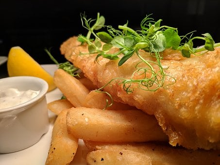 Fish And Chips, Fish, Cod, Chips, Lemon, Fish Friday