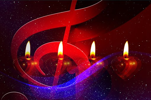 Advent, Sing, Songs, Christmas, Candles, Light, Clef