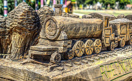 Train, Railway, Wood, Artwork, Carving, Log, Model