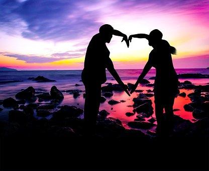 Love, Silhouette, Couple, Sunset, Romance, Romantic