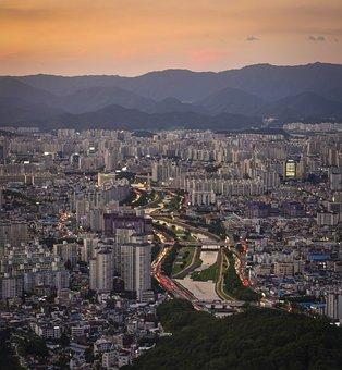 South Korea, Daegu, Sunset, Nightview, River, Mountain