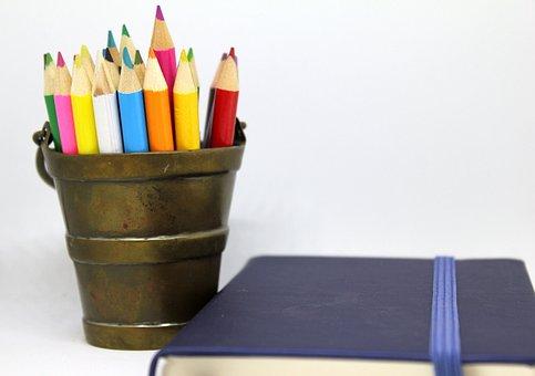 Pencils, Coloured, Brass, Bucket, Holder, Notebook
