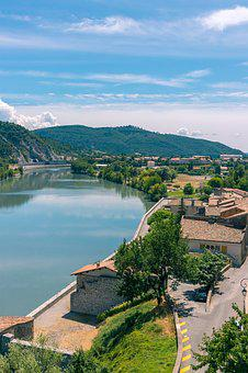 River, France, Landscape, Old City, Mountain