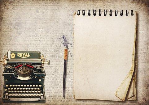 Typewriter, Writing Pad, Pen, Font, Notepad, Copy Space