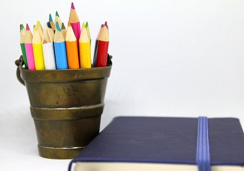 Pencils, Coloured, Brass, Bucket, Holder, Notebook