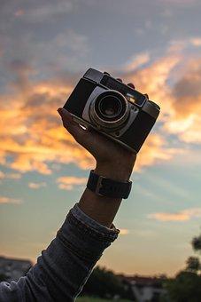 Old, Camera, Keep, Arm, Sunrise, Photo, Retro