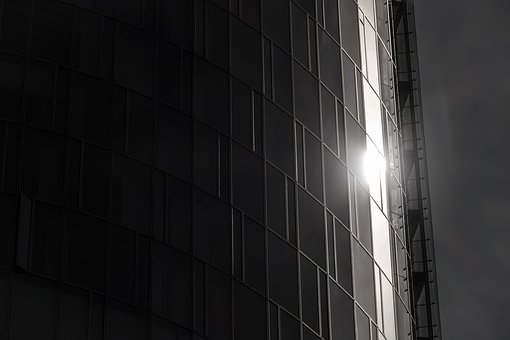 Skyscraper, Reflection, Glass Facade, Sun, Light