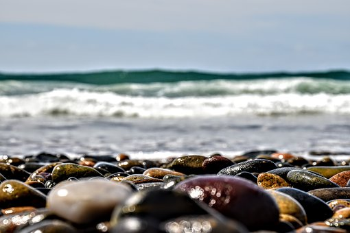 Beach, Rocks, Focus, Low Angle, Angle, Waves, Ocean