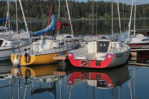 Sailing Boats, Mirroring, Water, Lake, Color