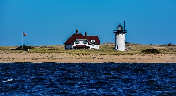 Sea, Beach, Side, Lighthouse, Cape Cod, Shore