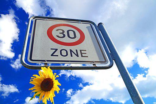 Zone 30, Sunflower, Traffic, Rest, Blue, Sky, Clouds