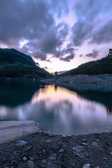 Sunset, Blue Hour, Lake, Reflection, Sky, Landscape