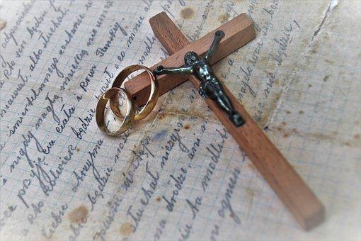 Symbol, Christ, Wedding Rings, Old Letter, Rings