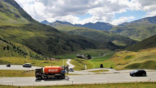 The Alps, Julierpass, Highway, Mountains, Nature