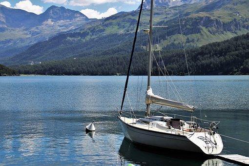 Alpine Lake, Beach, Tops, The Alps, Sailboat, Travel