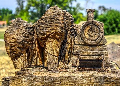 Train, Railway, Wood, Artwork, Carving, Log, Model