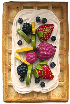 Waffle, Cream, Fruit, Advertising, Advertising Stands