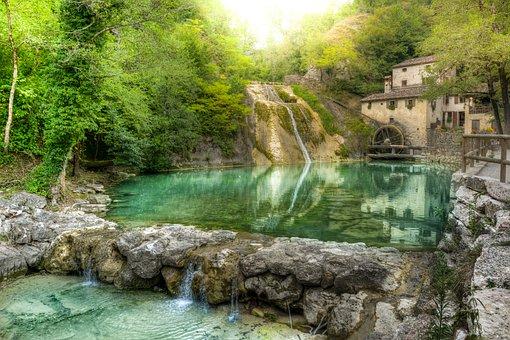 Mill, Waterfall, Water, Mountain, Cave, Wheel, Energy
