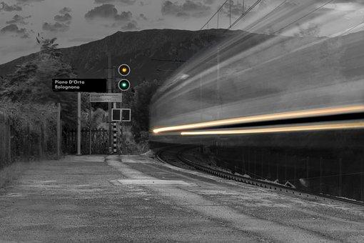 Train, Station, White Black, Trip, Transport, Urban