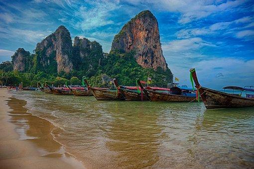 Beach, Railay, Thailand, Paradise, Boat, Ocean, Sea