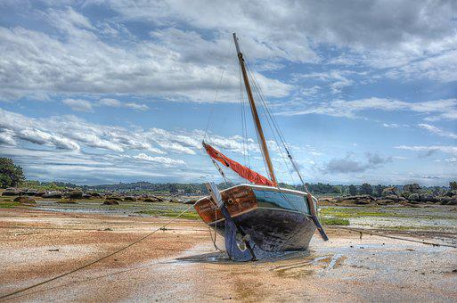 Yachts, Brittany, Ebbe, Sand, Sky, Water, Low Tide