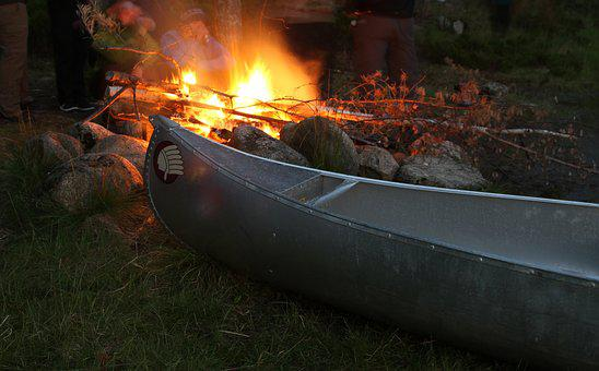 Canoe, Bonfire, Trip, Camp, Outdoor, Natural, Campfire