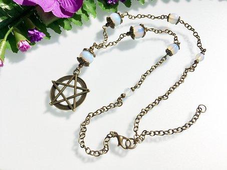 Pentagram, New Age, Amulet, Chain, Retro, Jewellery