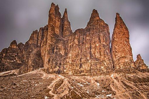 Three Zinnen, Dolomites, Landscape, Mountains, Italy